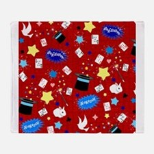 Red Magic Show magician pattern Throw Blanket