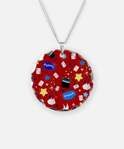 Red Magic Show magician pattern Necklace