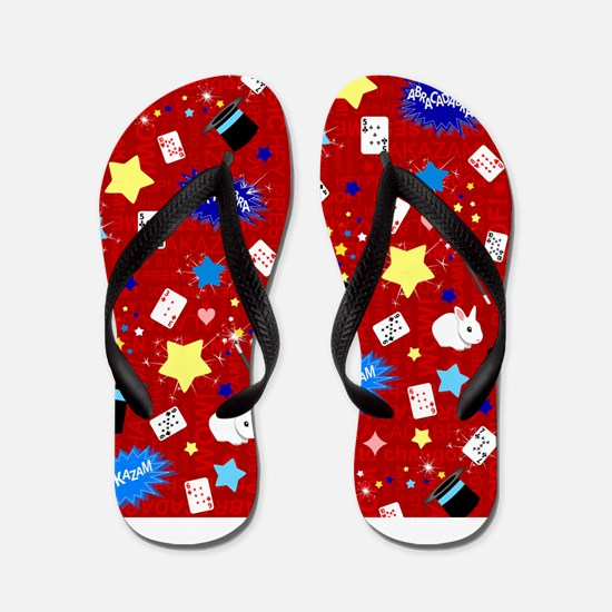Red Magic Show magician pattern Flip Flops