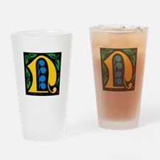 "Folk Art Monogram ""N"" Drinking Glass"