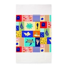 Bright sea themed pattern 3'x5' Area Rug