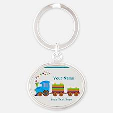 Custom Kids Train Oval Keychain