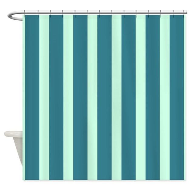 Teal And Mint Stripes Shower Curtain By Showercurtainsworld
