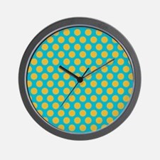 Polka Dot Turquoise and Yellow Wall Clock
