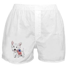 4th of July Westie Boxer Shorts
