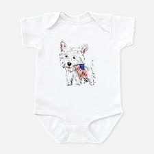 4th of July Westie Infant Bodysuit