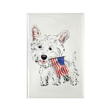 4th of July Westie Rectangle Magnet