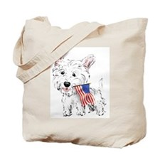 4th of July Westie Tote Bag