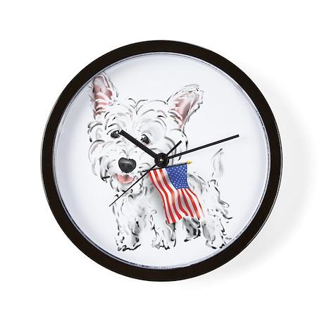4th of July Westie Wall Clock