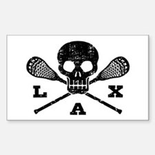 Lacrosse Lax Skull Sticker (Rectangle)