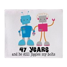 47 Year Anniversary Robot Couple Throw Blanket