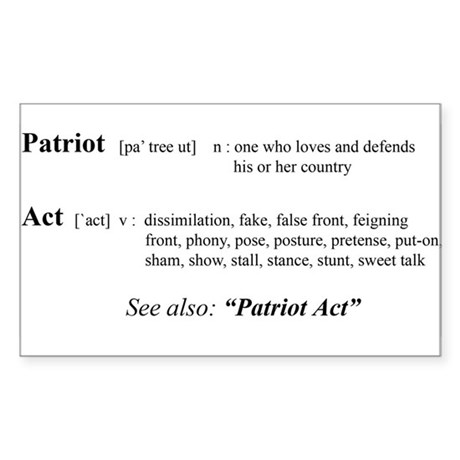 Patriot Act Defined Rectangle Sticker