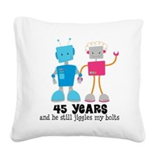 45 Year Anniversary Robot Couple Square Canvas Pil