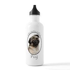 Lifes Better Pug Sports Water Bottle