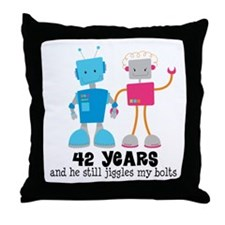 42 Year Anniversary Robot Couple Throw Pillow