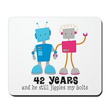 42 Year Anniversary Robot Couple Mousepad