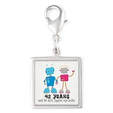 42 Year Anniversary Robot Couple Silver Square Cha