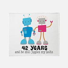 42 Year Anniversary Robot Couple Throw Blanket