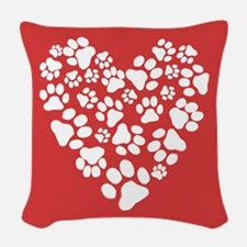 Dog Paw Prints Heart Woven Throw Pillow