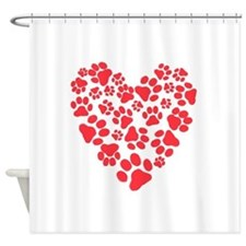 Dog Paw Prints Heart Shower Curtain