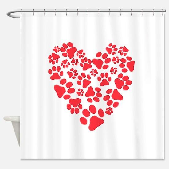 Dog Paw Prints Heart Shower Curtain