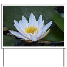 White Lotus Flower Yard Sign