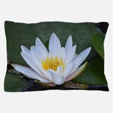 White Lotus Flower Pillow Case