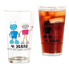 41 Year Anniversary Robot Couple Drinking Glass