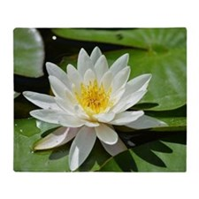 White Lotus Flower Throw Blanket