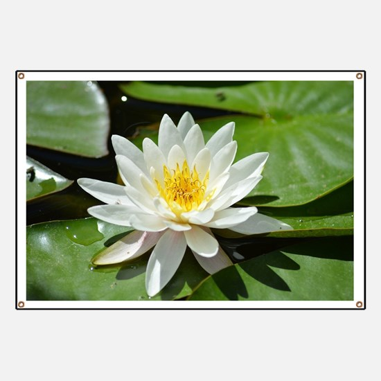 White Lotus Flower Banner