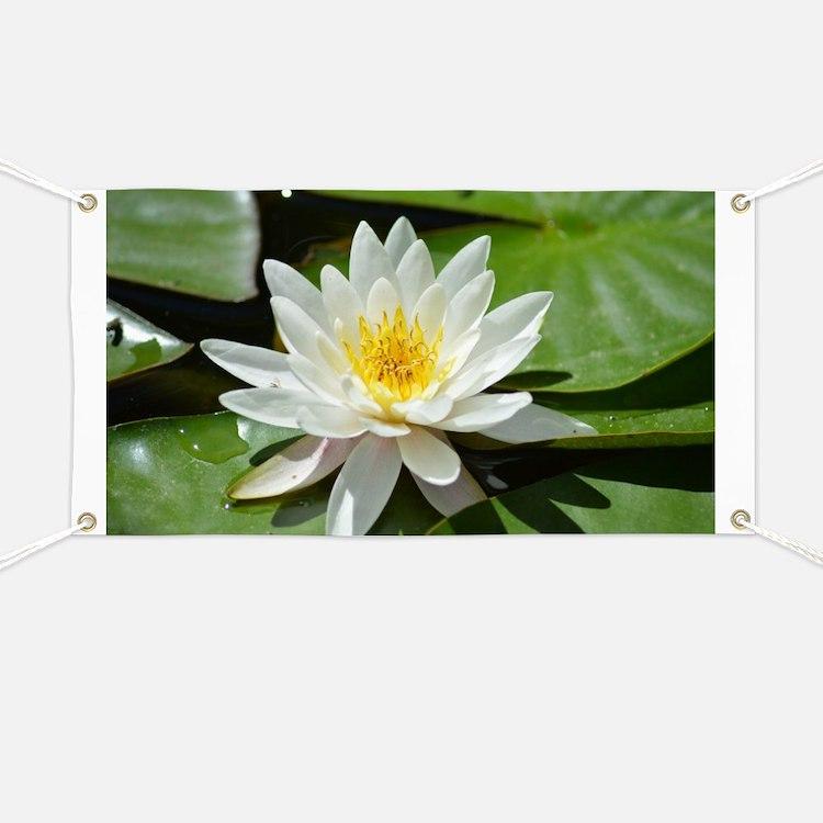 White Lotus Flower Banner