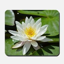 White Lotus Flower Mousepad