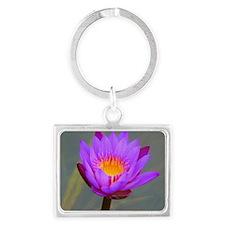 Purple Lotus Flower Landscape Keychain