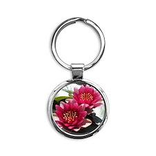 Red Lotus Flower Round Keychain