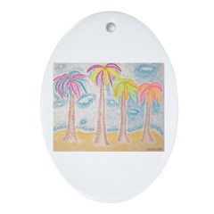 Colorful Palms Ornament (Oval)