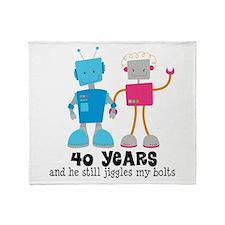 40 Year Anniversary Robot Couple Throw Blanket