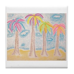 Colorful Palms Tile Coaster