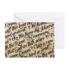 Poe Raven Text Pattern Greeting Card