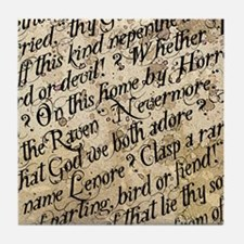 Poe Raven Text Pattern Tile Coaster