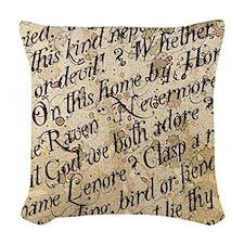 Poe Raven Text Pattern Woven Throw Pillow