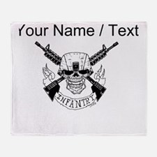 Custom Military Infantry Skull Throw Blanket