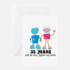 35 Year Anniversary Robot Couple Greeting Card