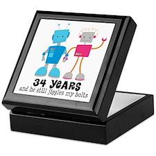 34 Year Anniversary Robot Couple Keepsake Box