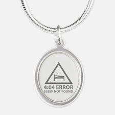 4:04 Error Sleep Not Found Silver Oval Necklace