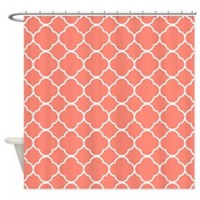 coral Quatrefoil pattern 01 Shower Curtain