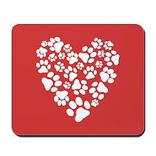 Dog Paw Prints Heart Mousepad