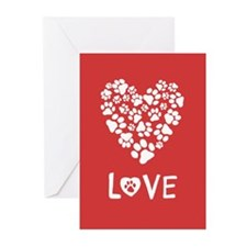 Dog Paw Prints Heart Love Cards (Pk Of 20)