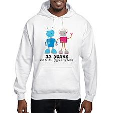 33 Year Anniversary Robot Couple Hoodie