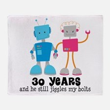 30 Year Anniversary Robot Couple Throw Blanket