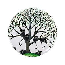 "Borders Black Cats in Tree by Lori Ale 3.5"" Button"